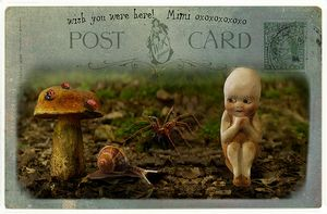 Postcard with White Cloud kewpie