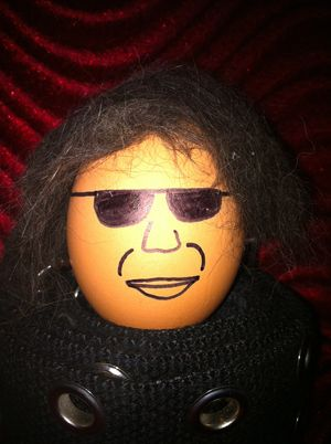 My cat fur and egg sculpture of Gene Simmons