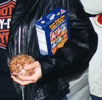 Old Halloween party evidence of my long-standing cheese ball bringing tradition